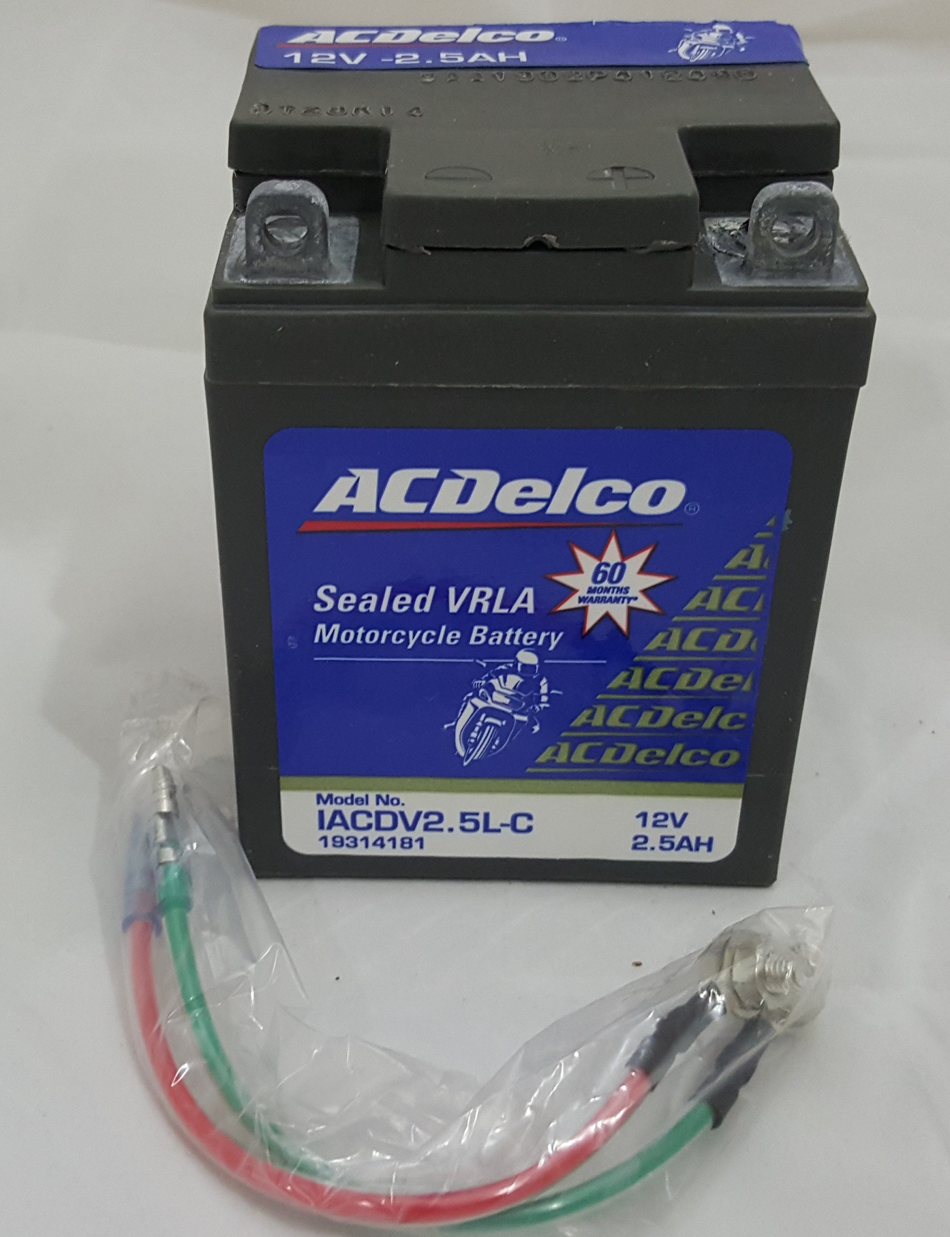 Acdelco 2.5Ah Sealed Vrla Motorcycle Battery