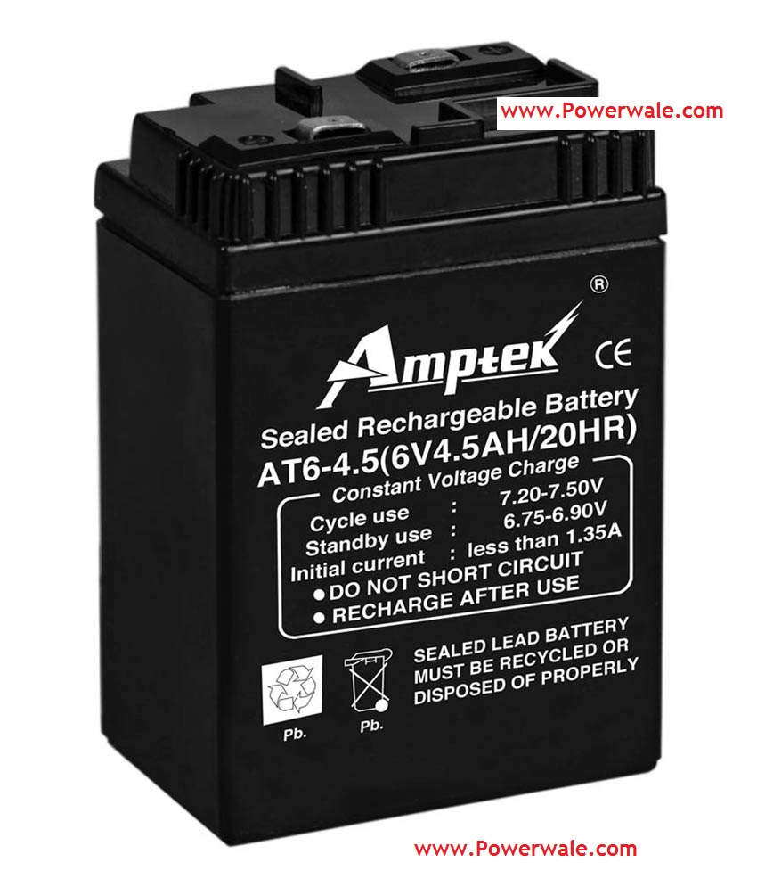 Amptek 6V 4.5Ah Rechargeable Sealed Battery For Ups Toys Solar Etc