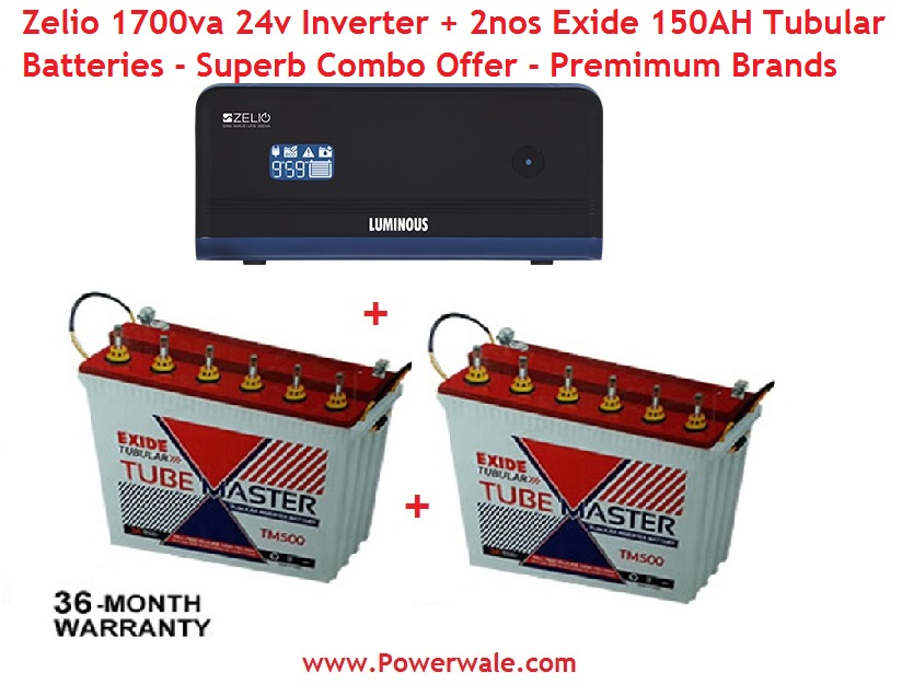 Luminous Zelio 1700Va 24V + 2Nos Exide 150Ah Tubular Battery Combo Offer
