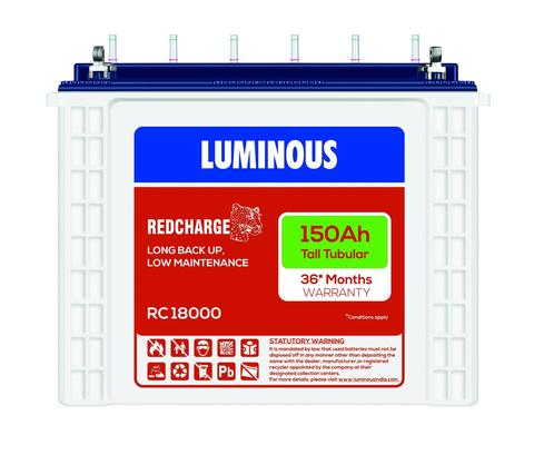 Luminous 12V 150Ah Redcharge Tall Tubular Battery