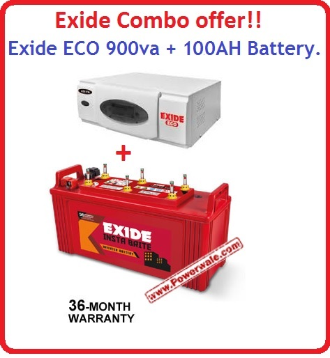 EXIDE ECO 900VA HOME UPS INVERTER EXIDE INSTABRITE 100AH BATTERY COMBO