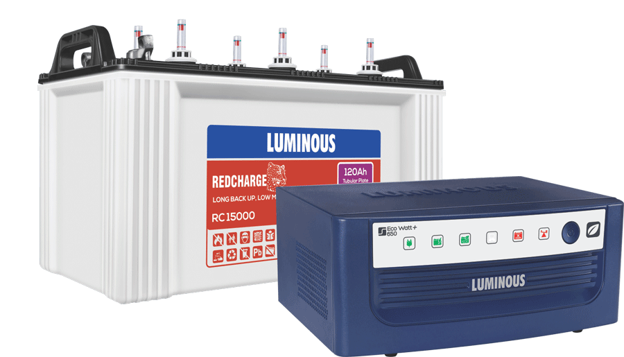 LUMINOUS ECO WATT 650VA INVERTER WITH RC 15000 120AH BATTERY