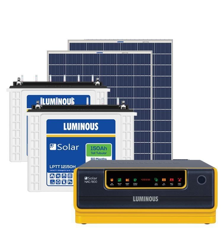 LUMINOUS 1.5KW OFF GRID SOLAR SYSTEM (1500VA + 150AHX2 + 330W)