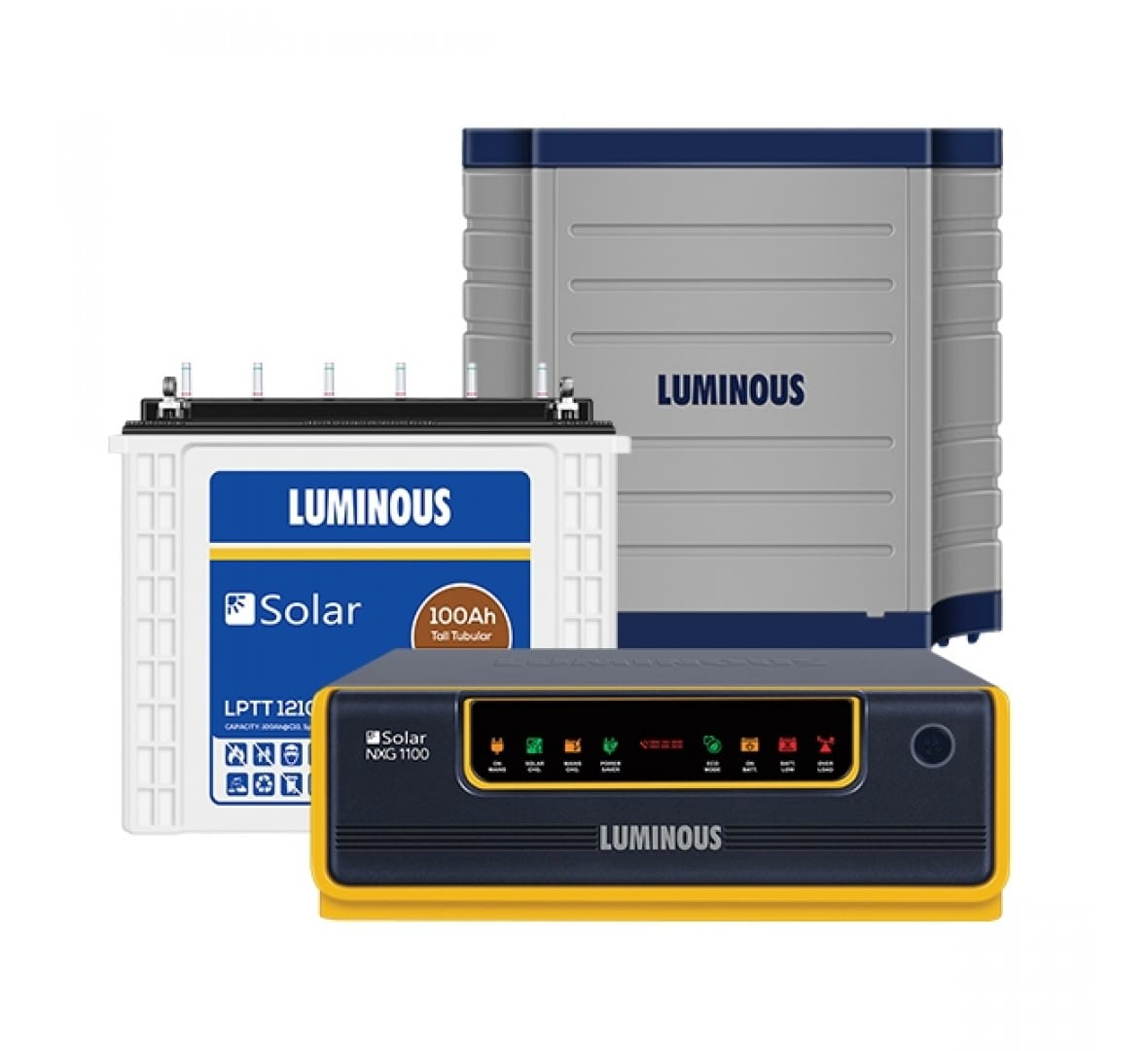 Luminous Solar Nxg1100 Ups + Lptt12100h 100Ah + Trolley
