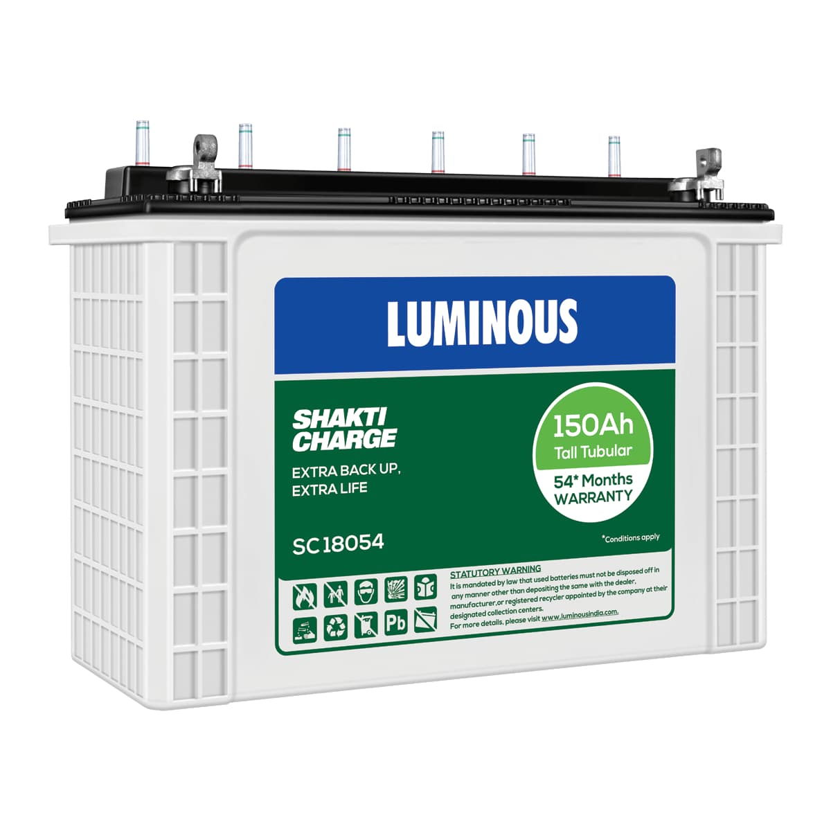 Luminous Shakti Charge SC18054 150AH Smart Tall Tubular Battery