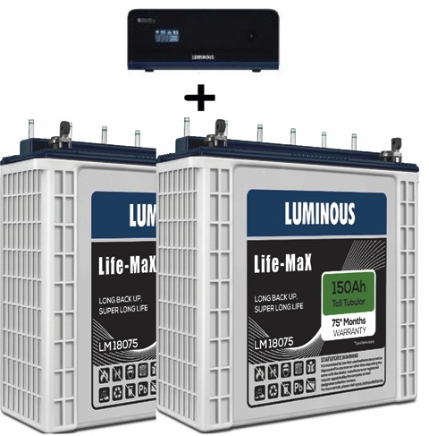 Luminous Zelio 1700VA with 2 Nos Life Max LM18075 150AH Tall Tubular Battery