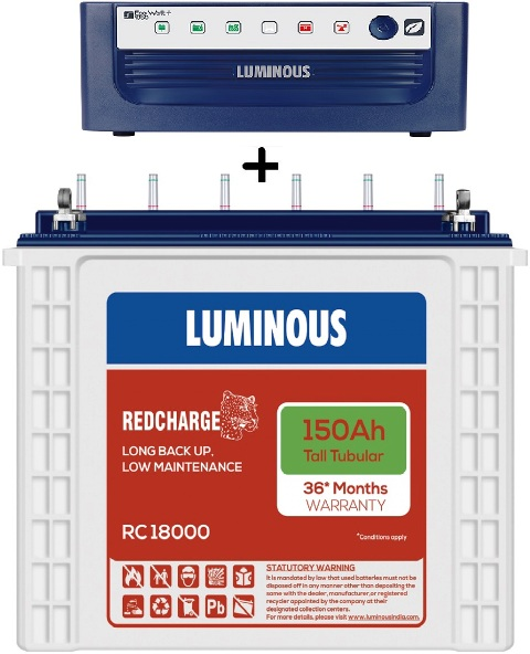 Luminous Eco Volt Neo 1050+ Ups With RC18000 150Ah Tall Tubular Battery