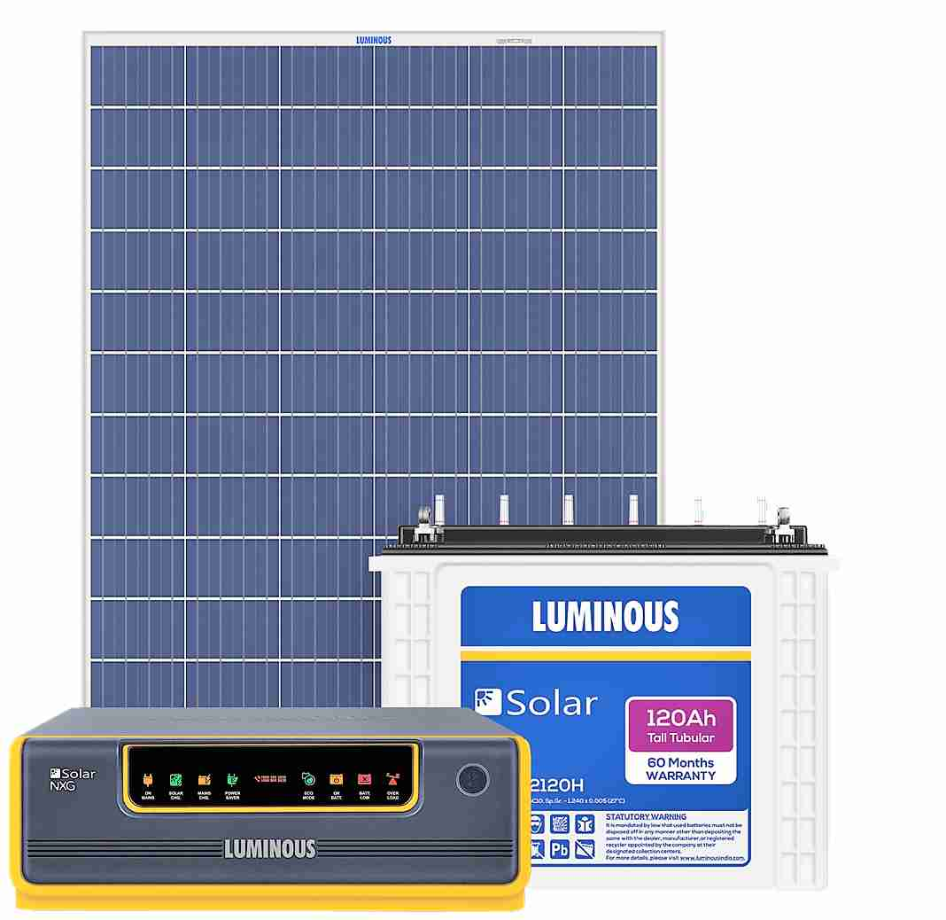 Luminous 850VA Off Grid Solar System (850VA + 120AH + 165W)