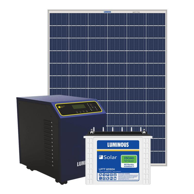 Luminous 2KW PCU + (150x4) 600Ah Battery + (270x8) 2160 Watts Panel Solar Combo