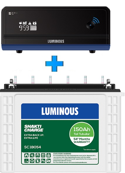 Luminous Zelio Wifi 1100 UPS + Shakti Charge SC18054 150AH Tall Tubular Battery Combo
