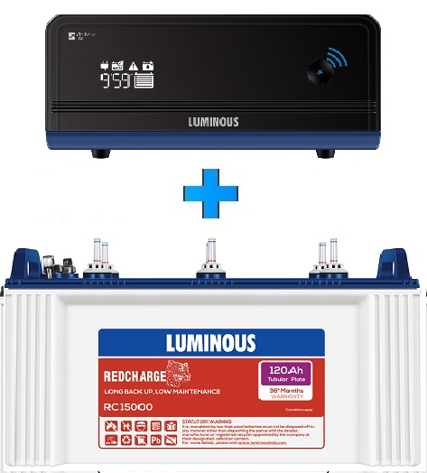 Luminous Zelio Wifi 1100 UPS + Rc15000 120Ah Tubular Battery set