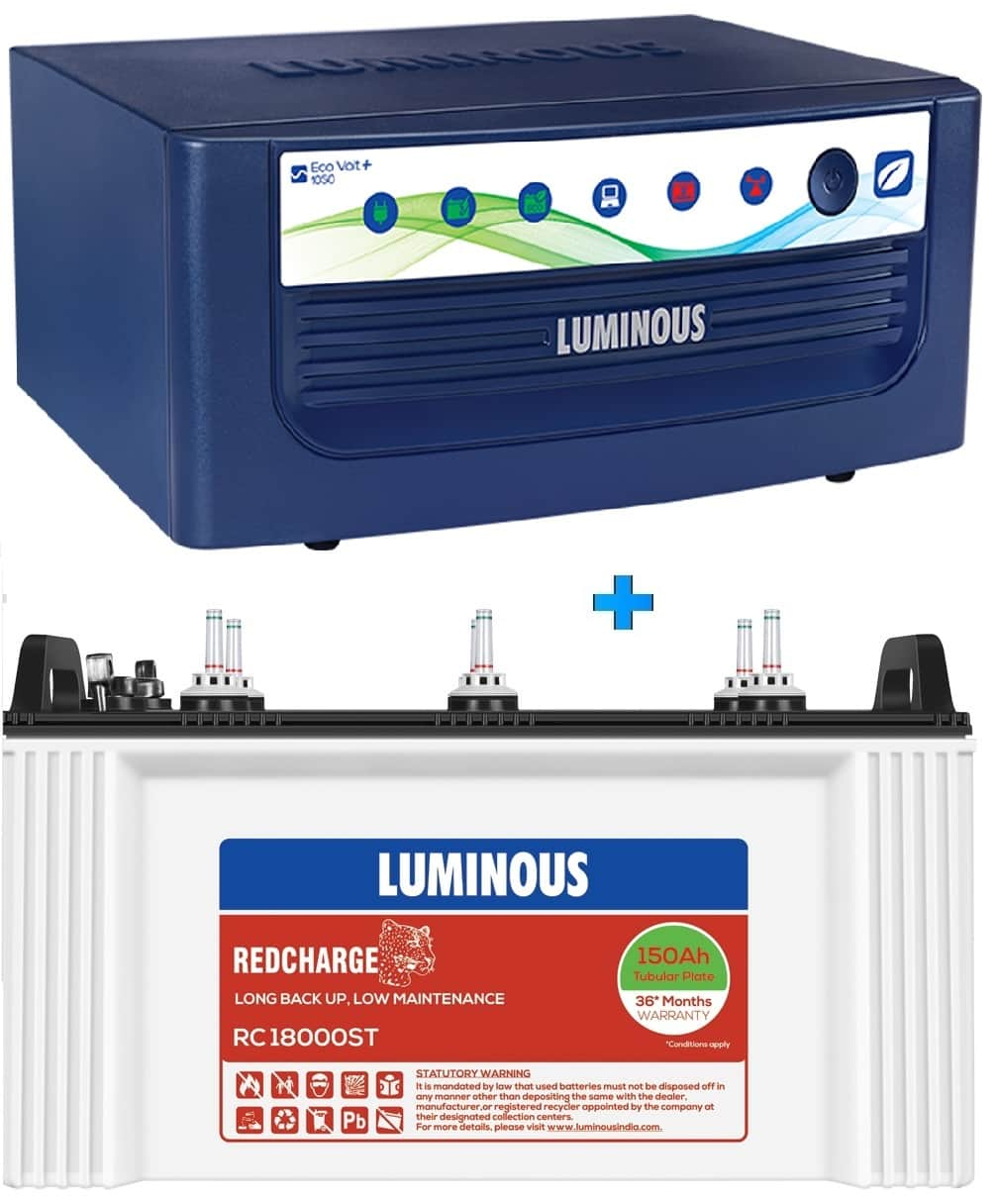 LUMINOUS ECO VOLT NEO 1050 + RC18000ST 150AH SHORT TUBULAR BATTERY